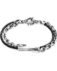 Anchor & Crew - Coal Black Belfast Silver & Braided Leather Bracelet - Lyst