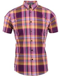 lords of harlech - Tim Shirt In Mulberry Large Plaid - Lyst
