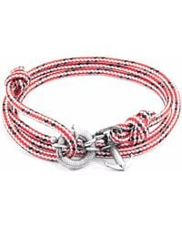 Anchor & Crew | Red Dash Clyde Silver & Rope Bracelet | Lyst