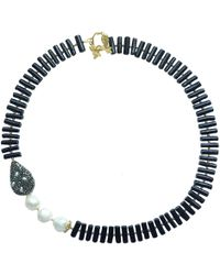 Farra - Natural Branch Shaped Black Coral With Freshwater Pearls & Rhinestone Necklace - Lyst