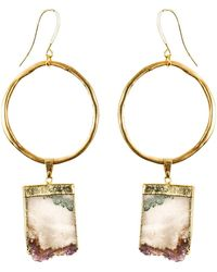 Tiana Jewel - Amethyst Gold Hoop Earrings Sari Collection - Lyst