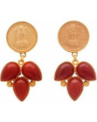Carousel Jewels - Red Onyx Coin Earrings - Lyst