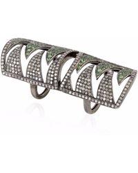 Meghna Jewels - Interlocking Claw Ring Diamonds & Tsavorite - Lyst