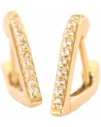XISSJEWELLERY - Gold & Diamond Huggy Earrings - Lyst