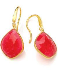 Dione London - Celeste Ruby Tear Drop Earrings - Lyst