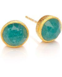 Dione London - Celeste Small Emerald Circle Stud Earrings - Lyst