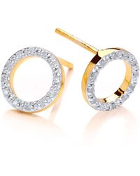 Dione London | Nyx Diamond Circle Stud Earrings | Lyst