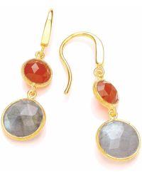 Dione London - Artemis Carnelian & Labradorite Two Stone Circle Drop Earrings - Lyst