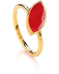 Dione London - Nova Ruby Marquise Off Set Stone Stacking Ring - Lyst