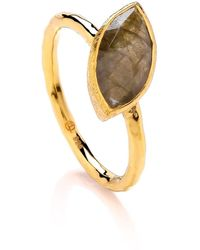 Dione London - Nova Labradorite Marquise Off Set Stone Stacking Ring - Lyst