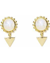 Agnes De Verneuil - Gold Earrings Sun & Stone Rainbow Moonstone - Lyst