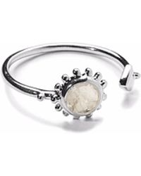 Agnes De Verneuil - Silver Open Ring Sun & Stone Rainbow Moonstone - Lyst