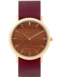 Analog Watch Co. - Makore Wood Classic Watch With Cherry Leather Strap - Lyst