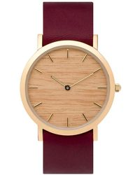 Analog Watch Co. - Silverheart Wood Classic Watch With Cherry Leather Strap - Lyst