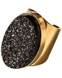 Tiana Jewel - Saffire Black Metallic Druzy Adjustable Cuff Ring - Lyst
