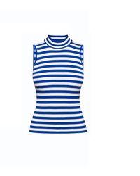 Rumour London - Henley Blue Striped Sleeveless Top - Lyst