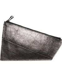 ARAMLEE - Leather Pouch Anthracite Metallic - Lyst