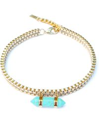 Clare Hynes Jewellery - Milly Choker Gold With A Turquoise Pendant - Lyst