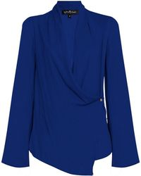 MYBESTFRIENDS - Flared Sleeve Wrap Over Shirt - Lyst