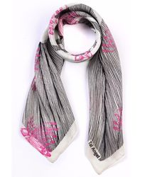 Tal Angel - The Pink Line Flower Silk Scarf - Lyst