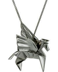 Origami Jewellery - Pegazus Necklace Gun Metal - Lyst