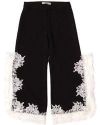 SAKU New York - Lace Trimmed Side Slit Pants Black - Lyst