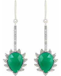 Meghna Jewels | Claw Linear Earrings Green Chalcedony & Diamonds | Lyst