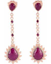Meghna Jewels - Flame Chain Drop Earrings Ruby & Diamonds - Lyst