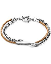 Anchor & Crew - Light Brown Belfast Silver & Leather Bracelet - Lyst