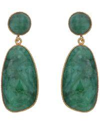 Carousel Jewels - Symmetrical Double Drop Dyed Emerald Earrings - Lyst