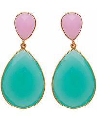Carousel Jewels - Double Drop Rose Quartz & Aqua Chalcedony Earrings - Lyst