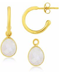 Auree - Manhattan Gold & Fuchsia Chalcedony Interchangeable Gemstone Earrings - Lyst