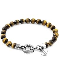 Anchor & Crew - Silver & Brown Tigers Eye Stone Port Bracelet - Lyst