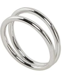 Eshvi - Double Band Silver Ring - Lyst