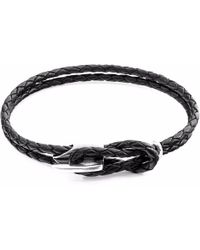 Anchor & Crew - Coal Black Padstow Silver & Leather Bracelet - Lyst