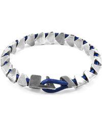 Anchor & Crew - Azure Blue Brixham Maxi Silver & Round Leather Bracelet - Lyst