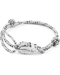Anchor & Crew - Grey Dash Tyne Silver & Rope Bracelet - Lyst