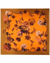 Klements - Medium Scarf In Gothic Floral Print Ochre - Lyst