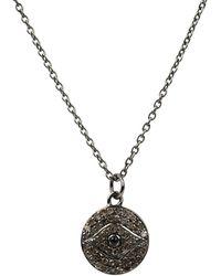 LÁTELITA London - Diamond & Sapphire Evil Eye Necklace Oxidised - Lyst