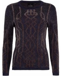 NY CHARISMA - Navy Cable Pattern Jacquard Pullover - Lyst