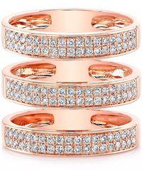 Anne Sisteron - Rose Gold Diamond Large Triple Bar Ring - Lyst