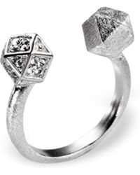 Ona Chan Jewelry - Mantra Cube Open Ring Silver With Swarovski Crystals - Lyst