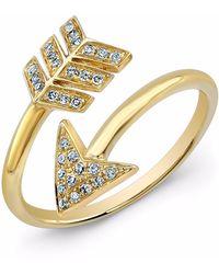 Anne Sisteron 14kt Yellow Gold Diamond Wrap Around Arrow Ring - Metallic