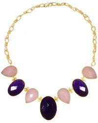 Ottoman Hands - Amethyst & Rose Quartz Multi-stone Statement Necklace - Lyst