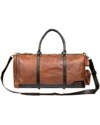 MAHI - Leather Columbus Holdall/duffle Weekend/overnight Bag In Vintage Brown With Mahogany Details - Lyst