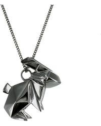 Origami Jewellery - Necklace Rabbit Gun Metal - Lyst