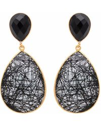 Carousel Jewels - Black Onyx & Rutile Quartz Small Drop Earrings - Lyst