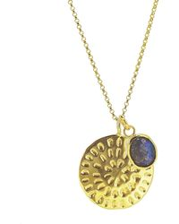 Yvonne Henderson Jewellery - Moroccan Inspired Large Organic Disc Pendant With Labradorite Charm Long Chain Gold - Lyst