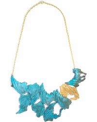 Loveness Lee - Noah Big Gold & Blue Bib Plate Statement Necklace - Lyst
