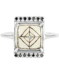 No 13 - Sami Black Diamond Rectangle Ring - Lyst